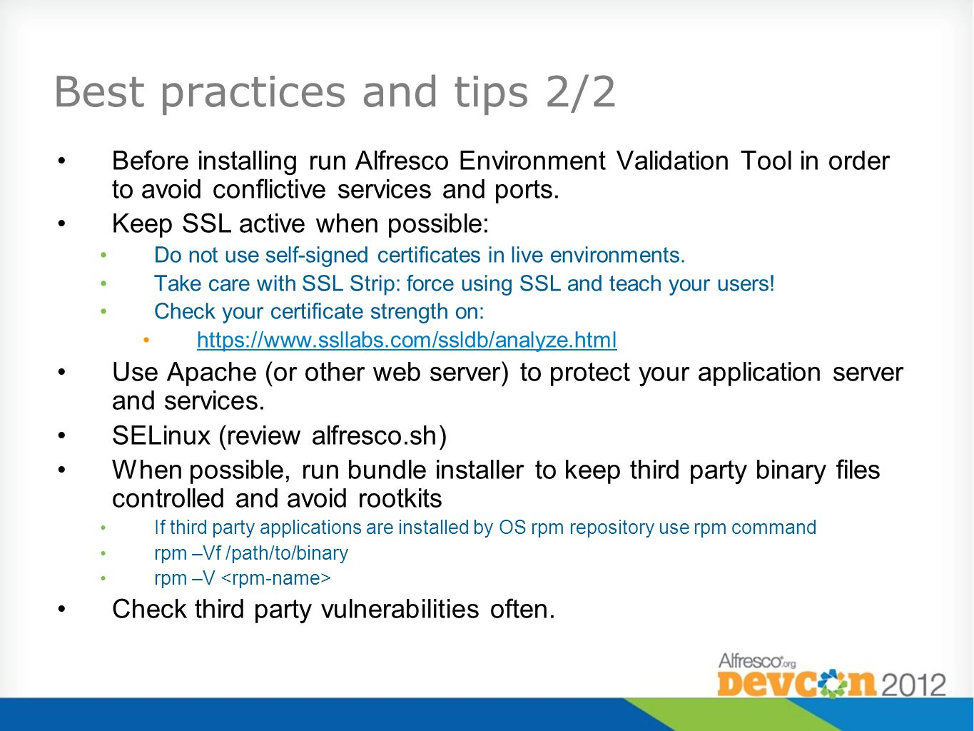 Best practices and tips 2/2