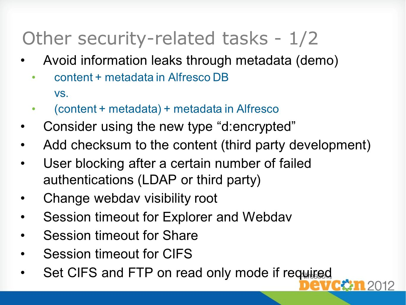 Other security-related tasks - 1/2