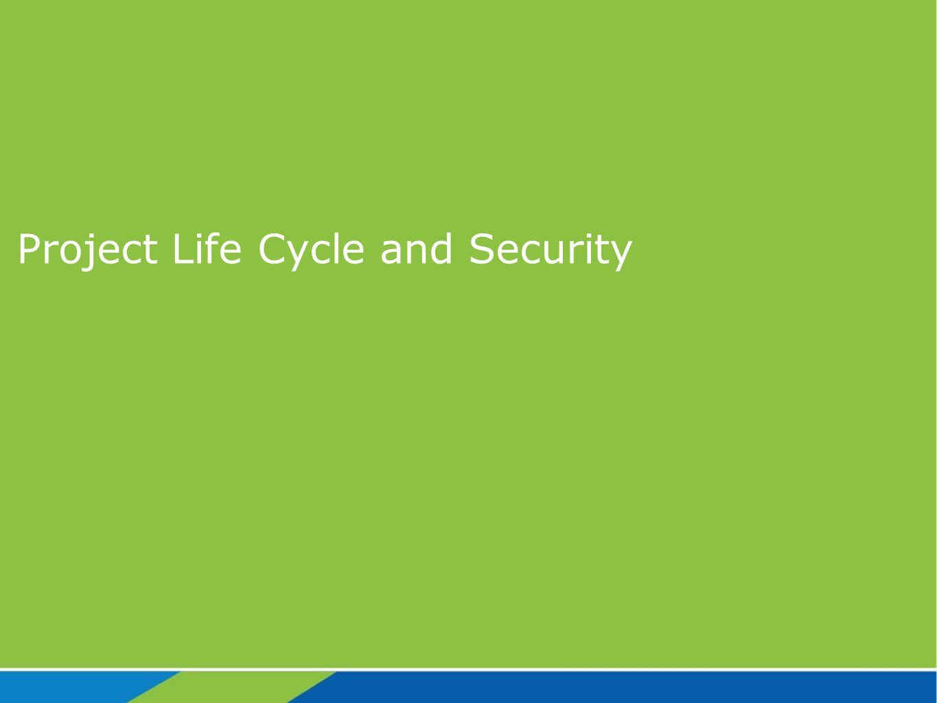 Project Life Cycle and Security