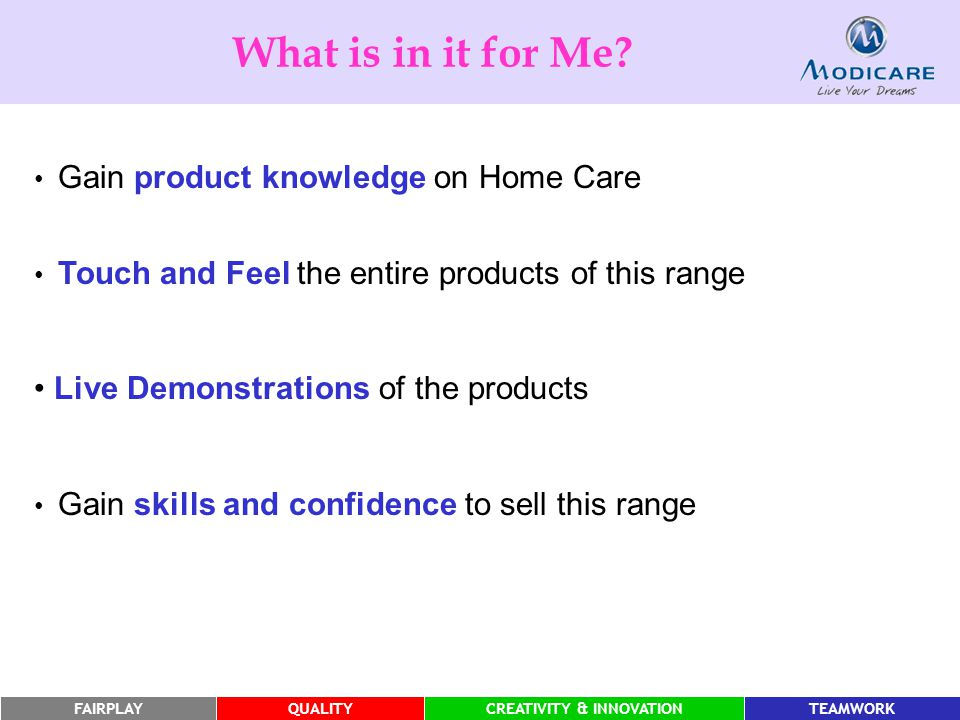 What is in it for Me Live Demonstrations of the products