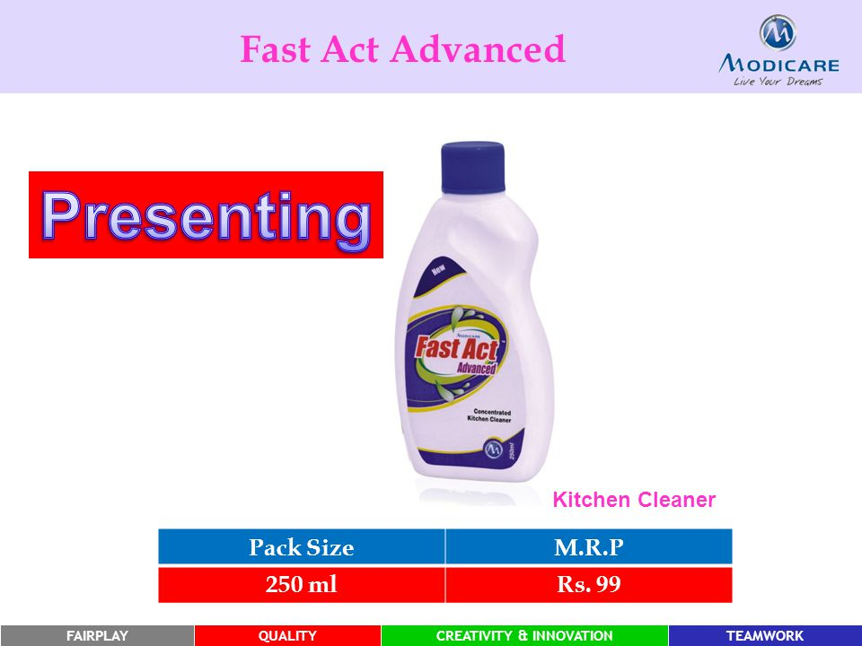 Presenting Fast Act Advanced Pack Size M.R.P 250 ml Rs. 99