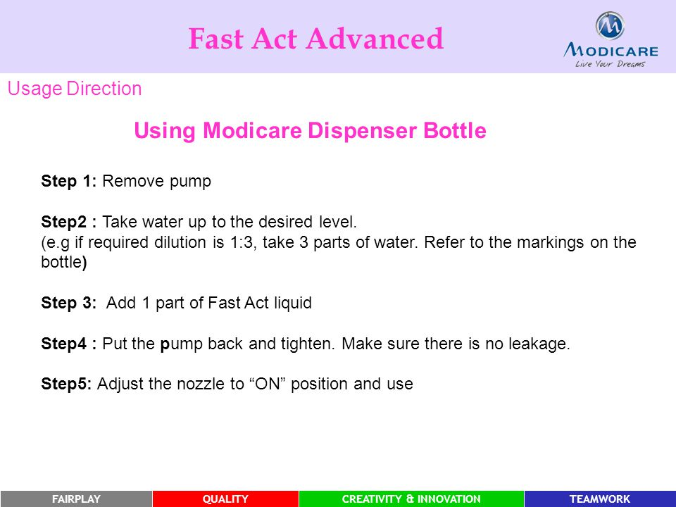 Fast Act Advanced Using Modicare Dispenser Bottle Usage Direction