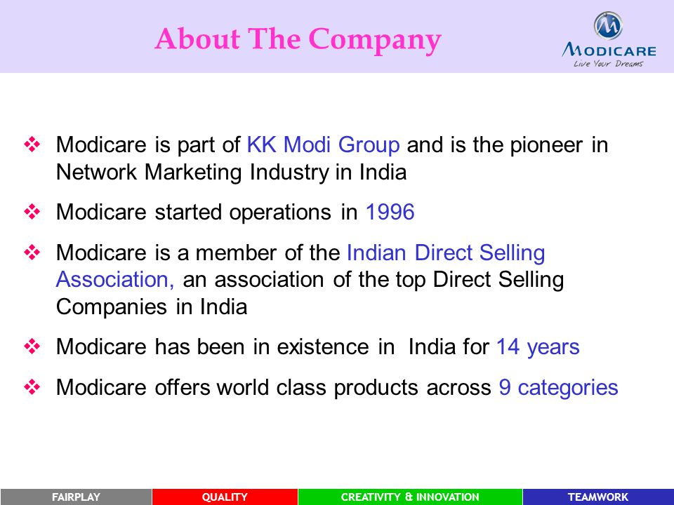 About The Company Modicare is part of KK Modi Group and is the pioneer in Network Marketing Industry in India.