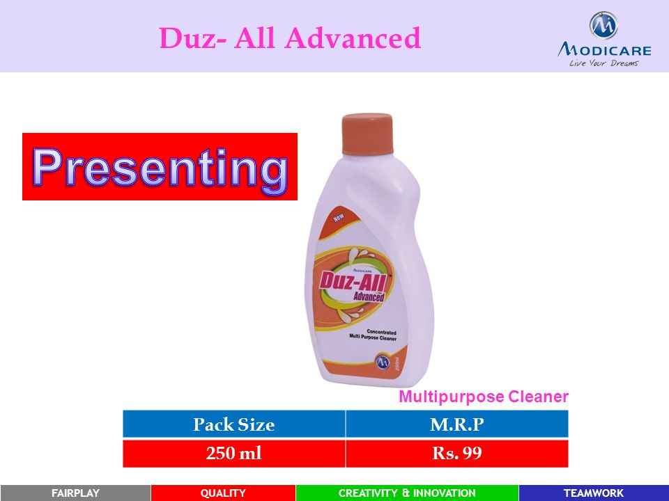 Presenting Duz- All Advanced Pack Size M.R.P 250 ml Rs. 99