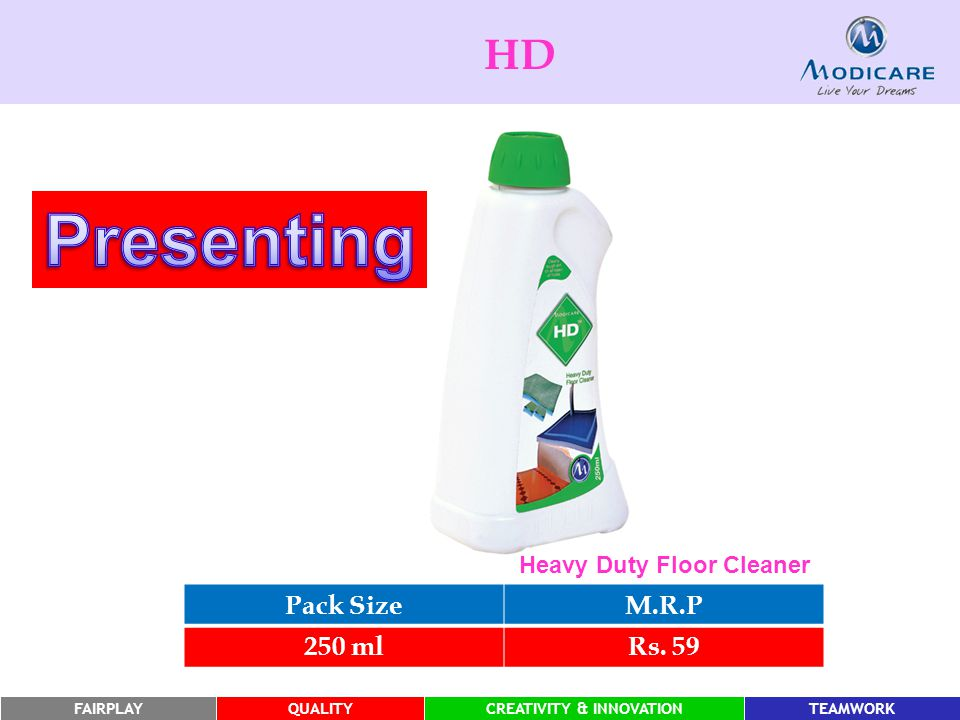 HD Presenting Heavy Duty Floor Cleaner Pack Size M.R.P 250 ml Rs. 59