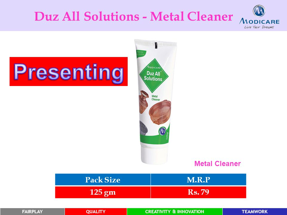 Presenting Duz All Solutions - Metal Cleaner Pack Size M.R.P 125 gm