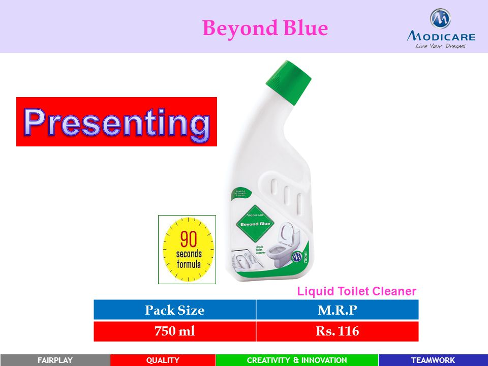 Presenting Beyond Blue Pack Size M.R.P 750 ml Rs. 116
