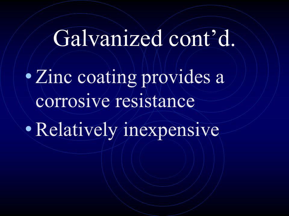 Galvanized cont'd. Zinc coating provides a corrosive resistance