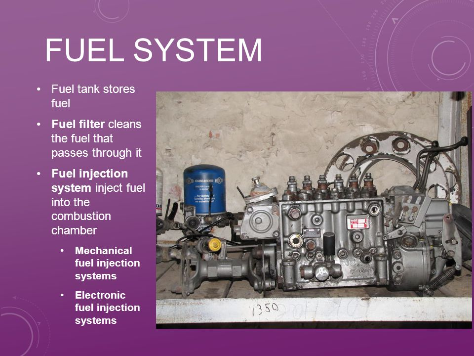 Fuel system Fuel tank stores fuel