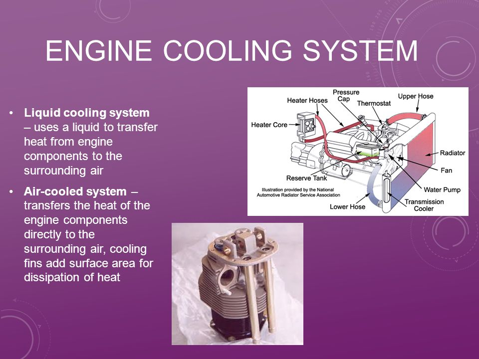 Engine cooling system Liquid cooling system – uses a liquid to transfer heat from engine components to the surrounding air.