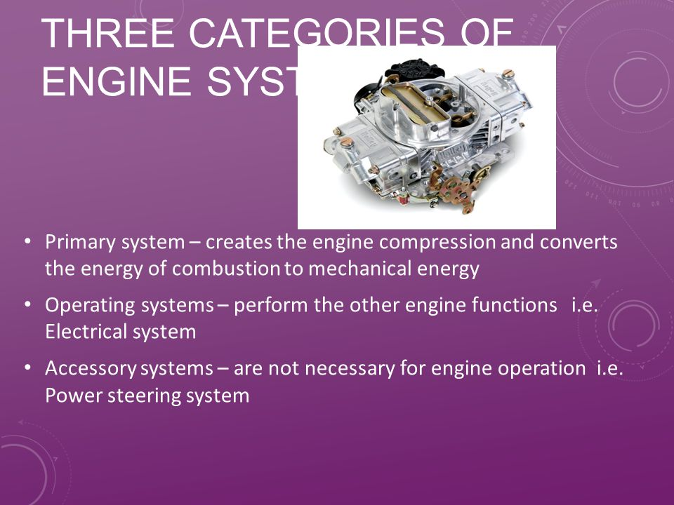 Three categories of engine systems