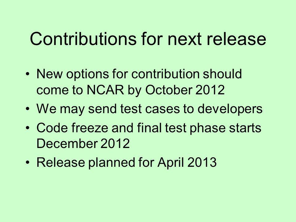 Contributions for next release