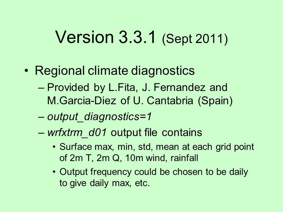 Version 3.3.1 (Sept 2011) Regional climate diagnostics