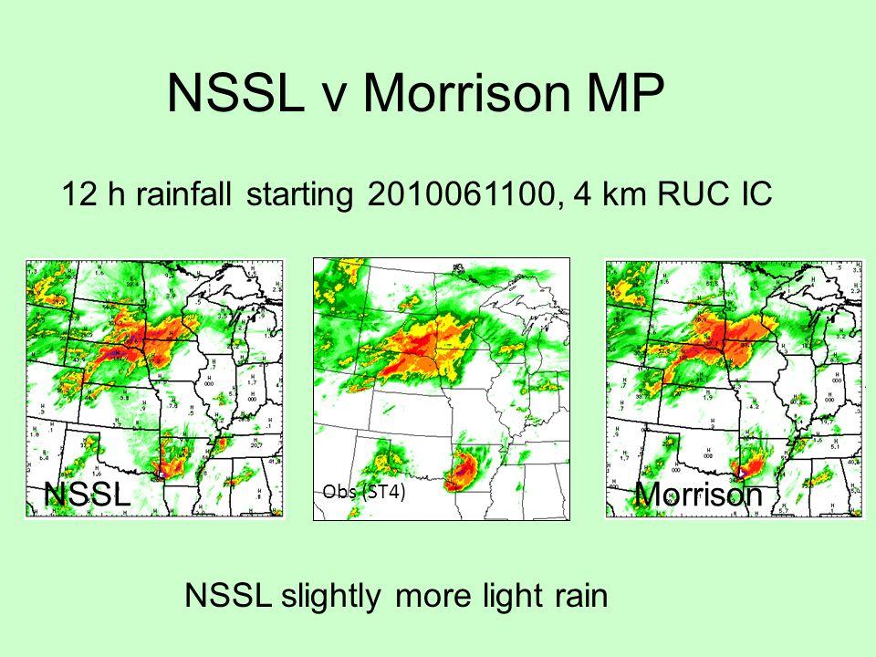 NSSL v Morrison MP 12 h rainfall starting 2010061100, 4 km RUC IC NSSL