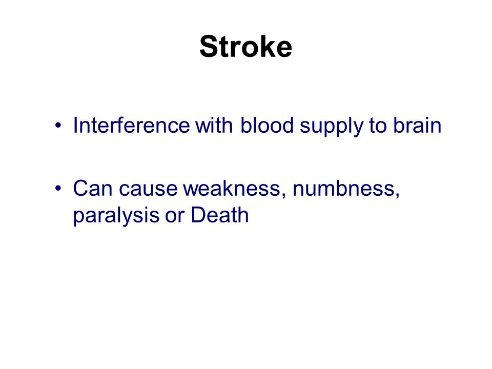 Stroke Interference with blood supply to brain