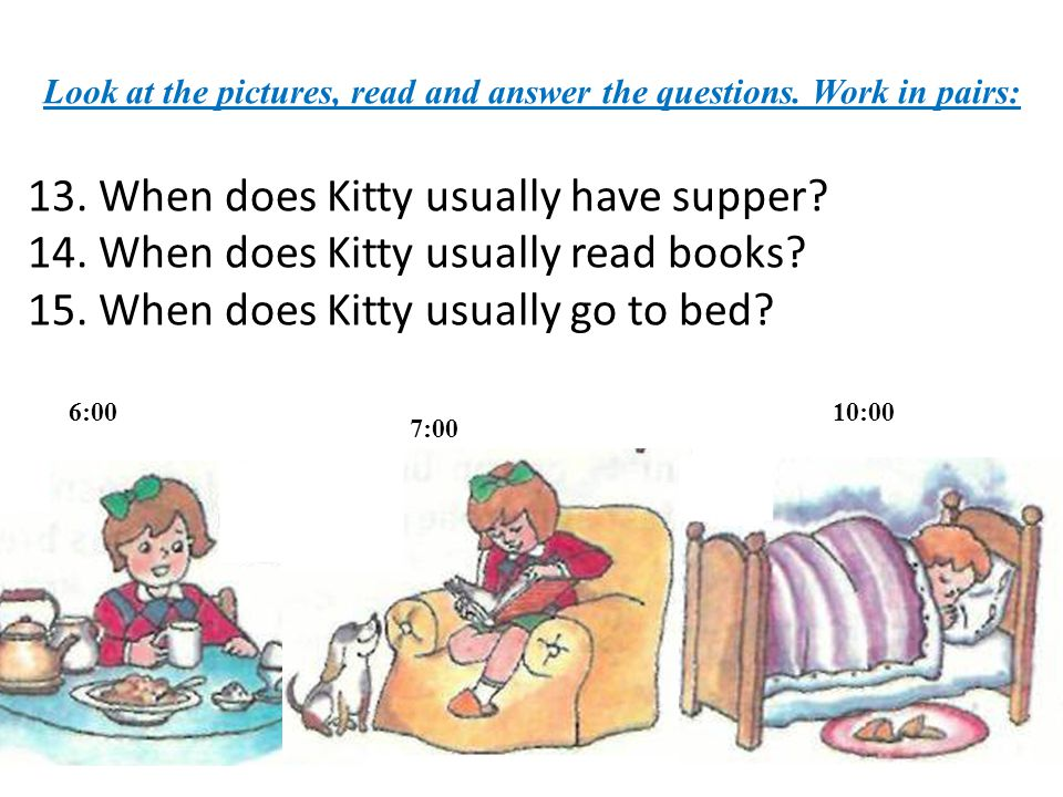 Look at the pictures, read and answer the questions. Work in pairs: