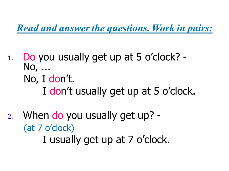 Read and answer the questions. Work in pairs: