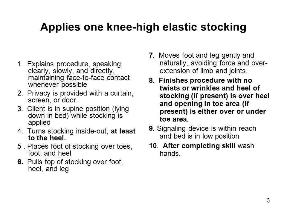 Applies one knee-high elastic stocking
