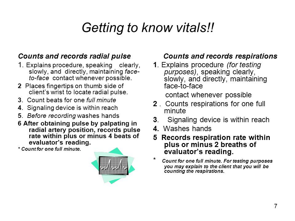 Getting to know vitals!! Counts and records radial pulse