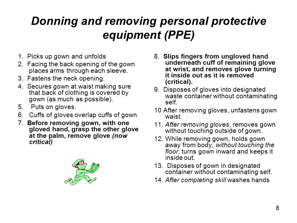 Donning and removing personal protective equipment (PPE)