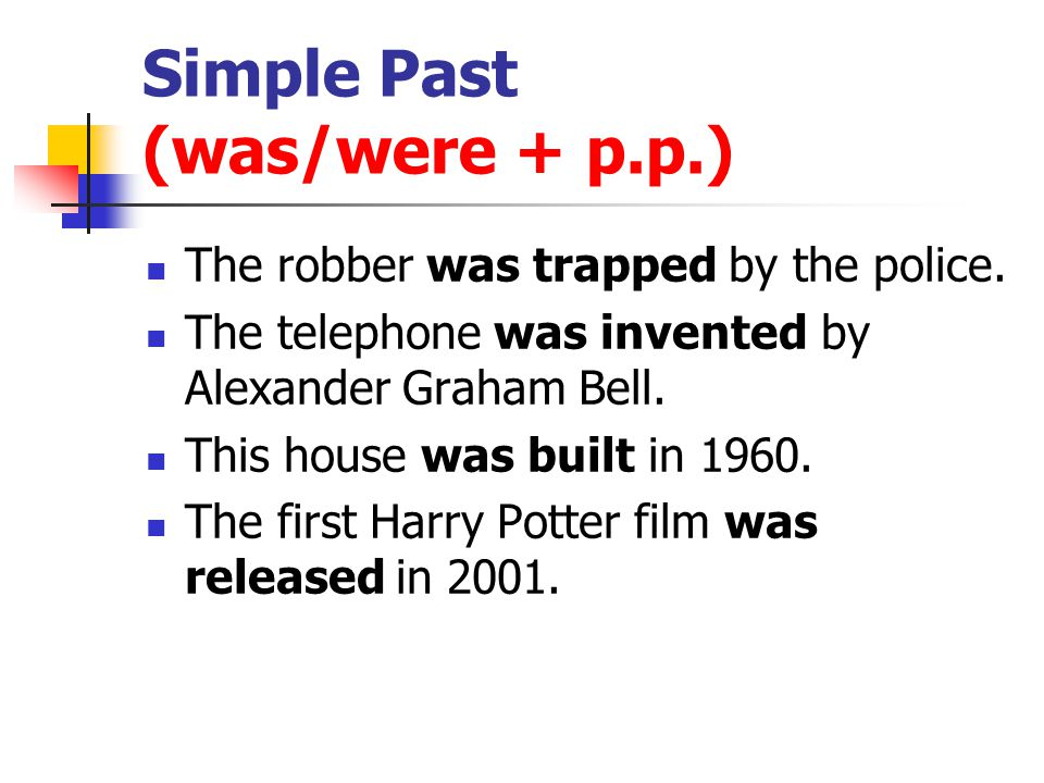 Simple Past (was/were + p.p.)