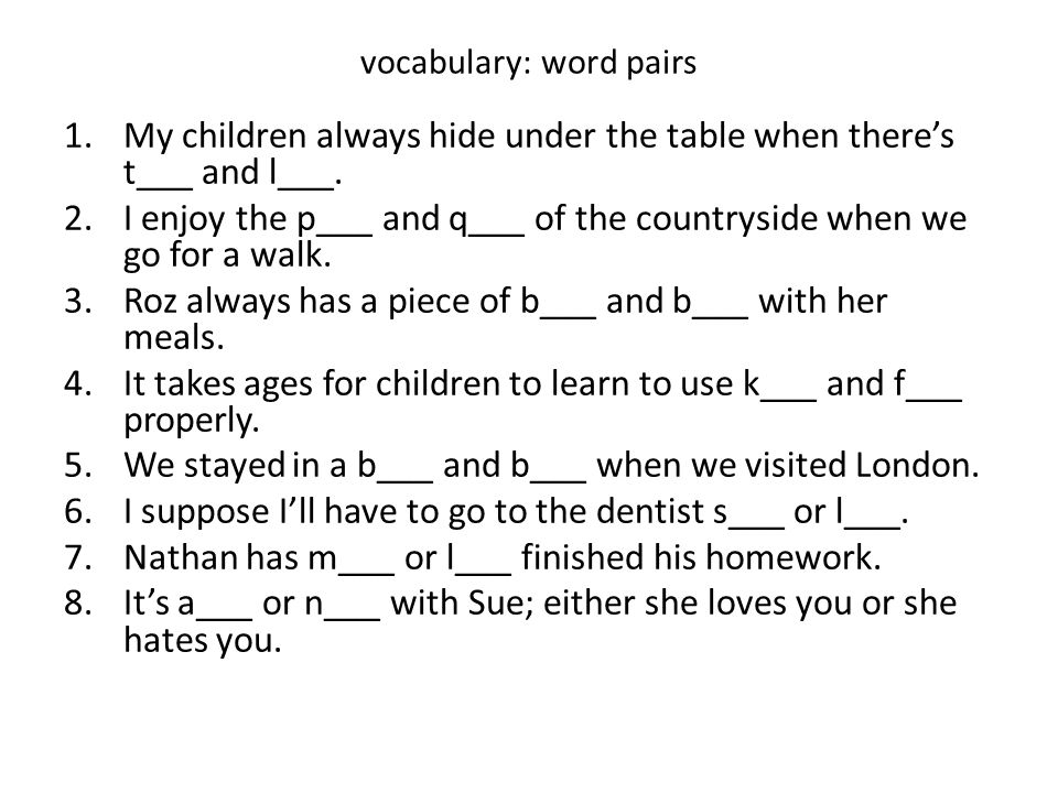 vocabulary: word pairs