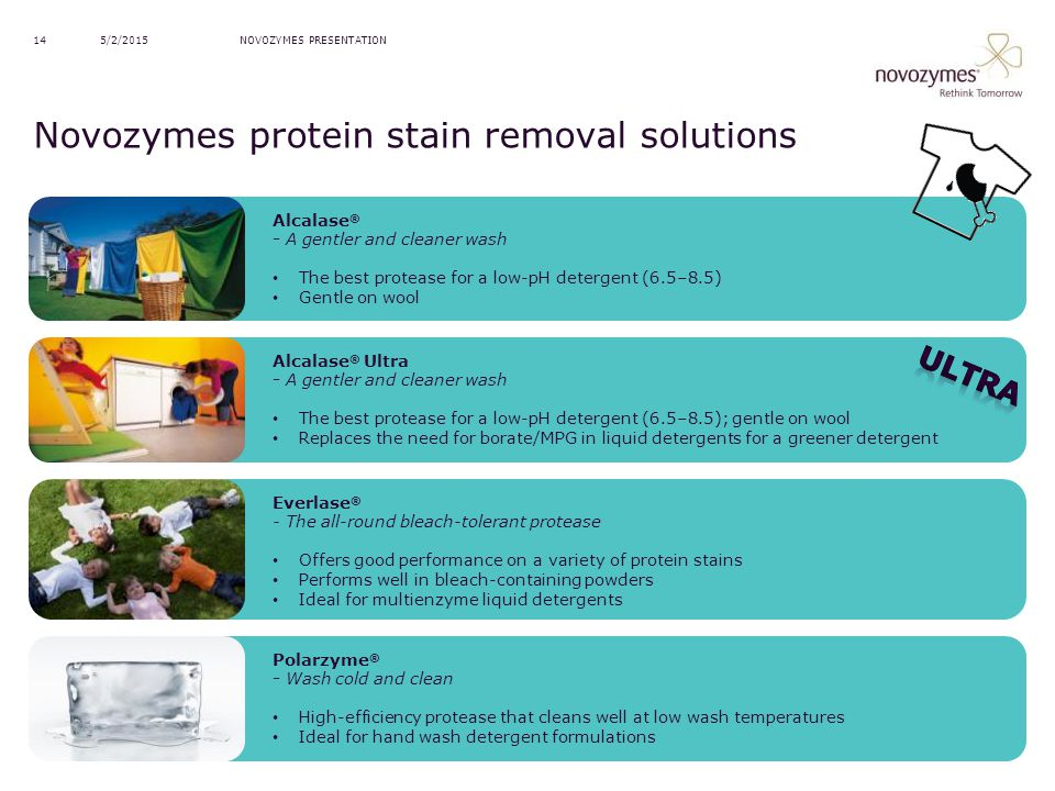 Novozymes protein stain removal solutions