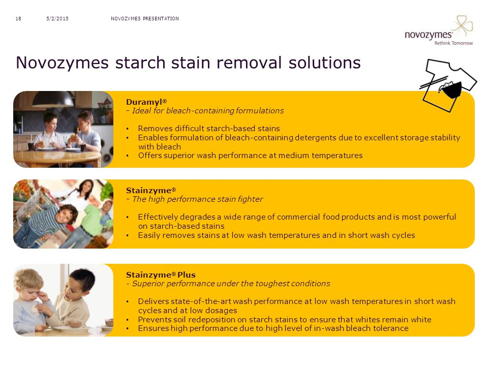 Novozymes starch stain removal solutions
