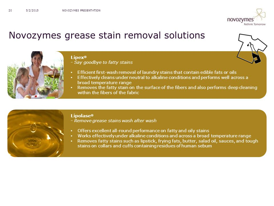 Novozymes grease stain removal solutions