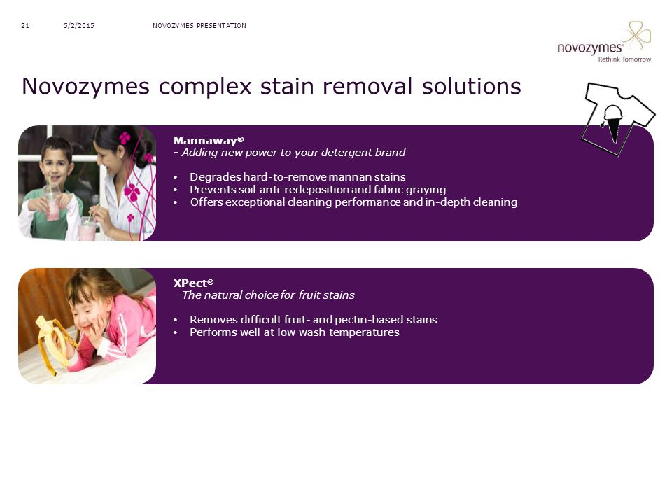 Novozymes complex stain removal solutions