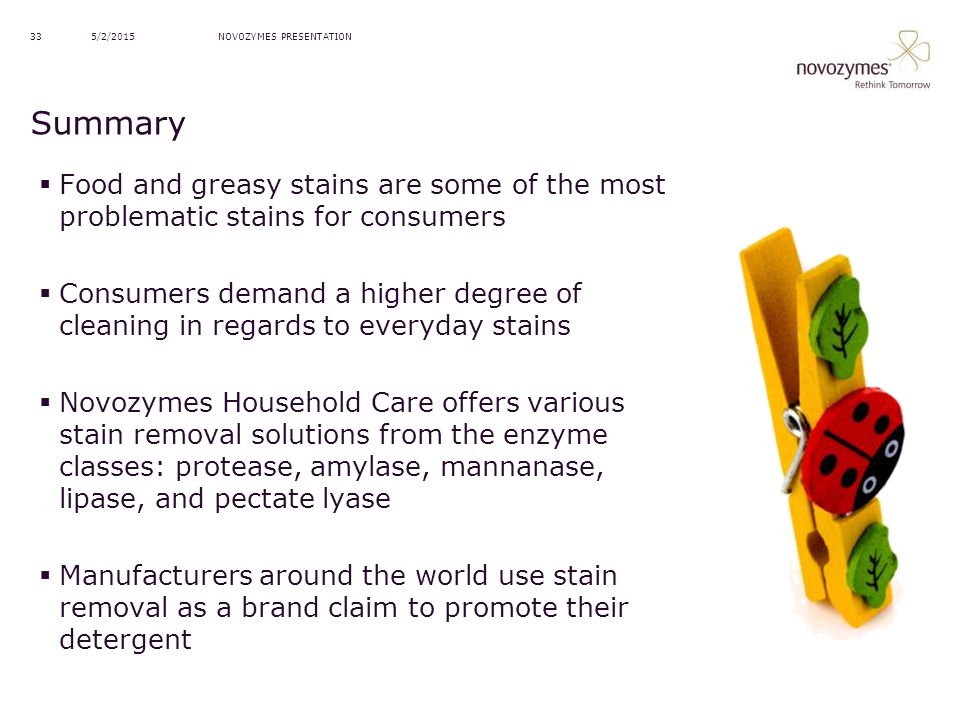 4/14/2017 NOVOZYMES PRESENTATION. Summary. Food and greasy stains are some of the most problematic stains for consumers.
