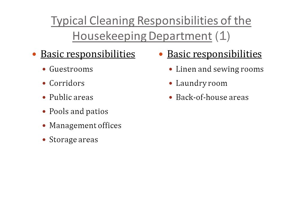 typical cleaning responsibilities of the housekeeping department 1 - Housekeeping Responsibilities