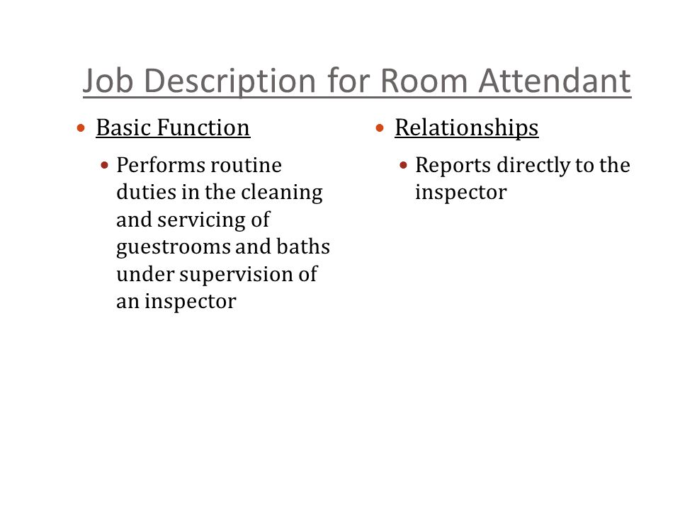 Job Description for Room Attendant