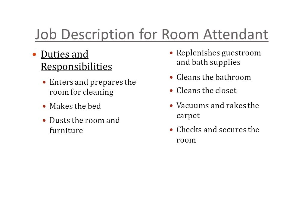 Job Description For Room Attendant 7 Activity Developing A Housekeeping Work Schedule