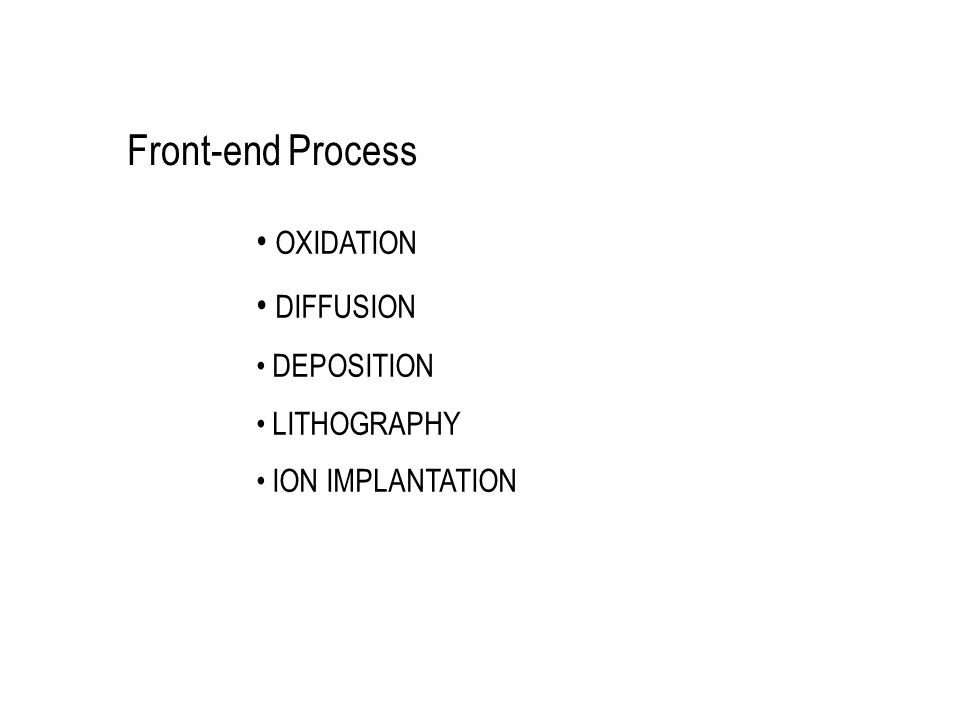 Front-end Process OXIDATION DIFFUSION DEPOSITION LITHOGRAPHY