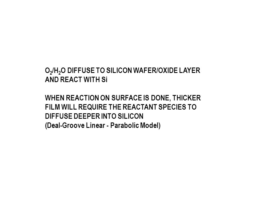 O2/H2O DIFFUSE TO SILICON WAFER/OXIDE LAYER AND REACT WITH Si