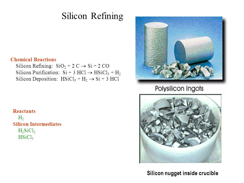 Silicon Refining Silicon nugget inside crucible Chemical Reactions