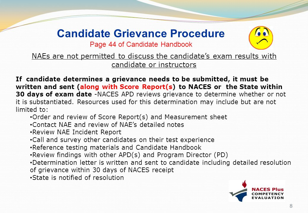 Candidate Grievance Procedure Page 44 of Candidate Handbook