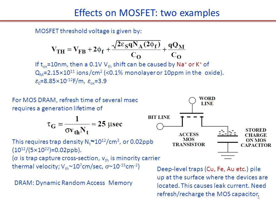 Effects on MOSFET: two examples