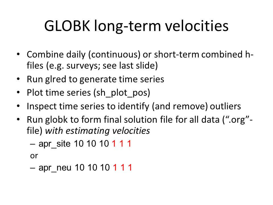 GLOBK long-term velocities