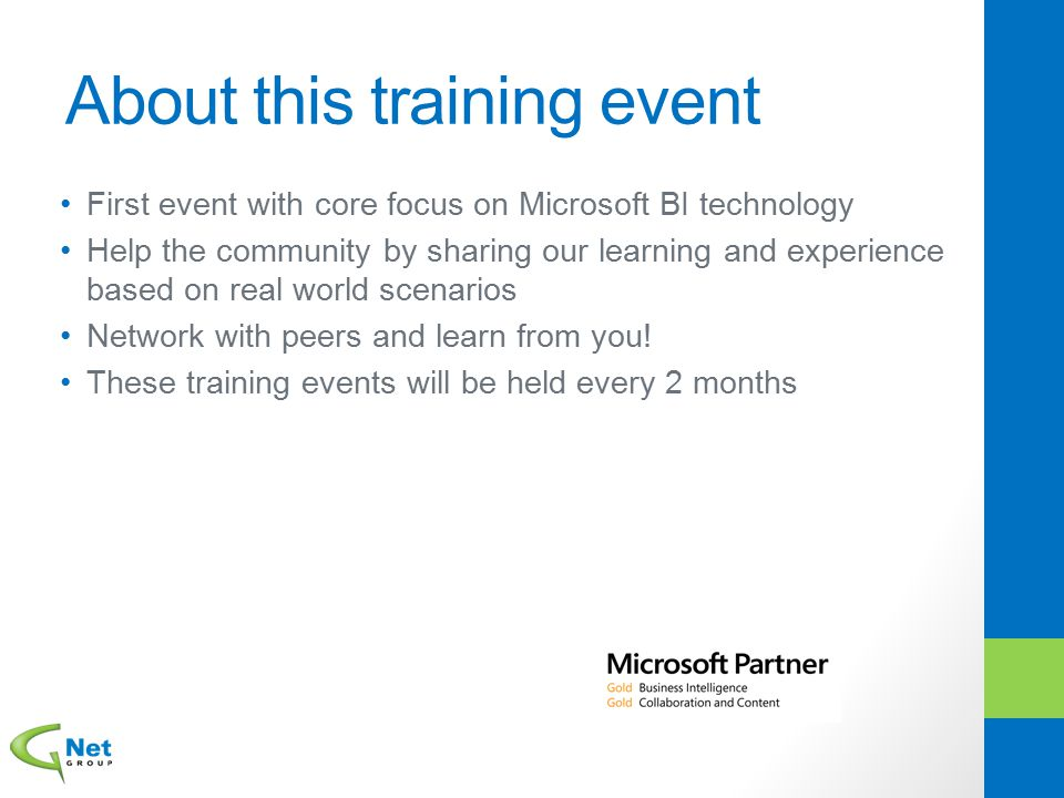 About this training event