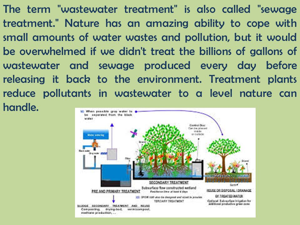 The term wastewater treatment is also called sewage treatment