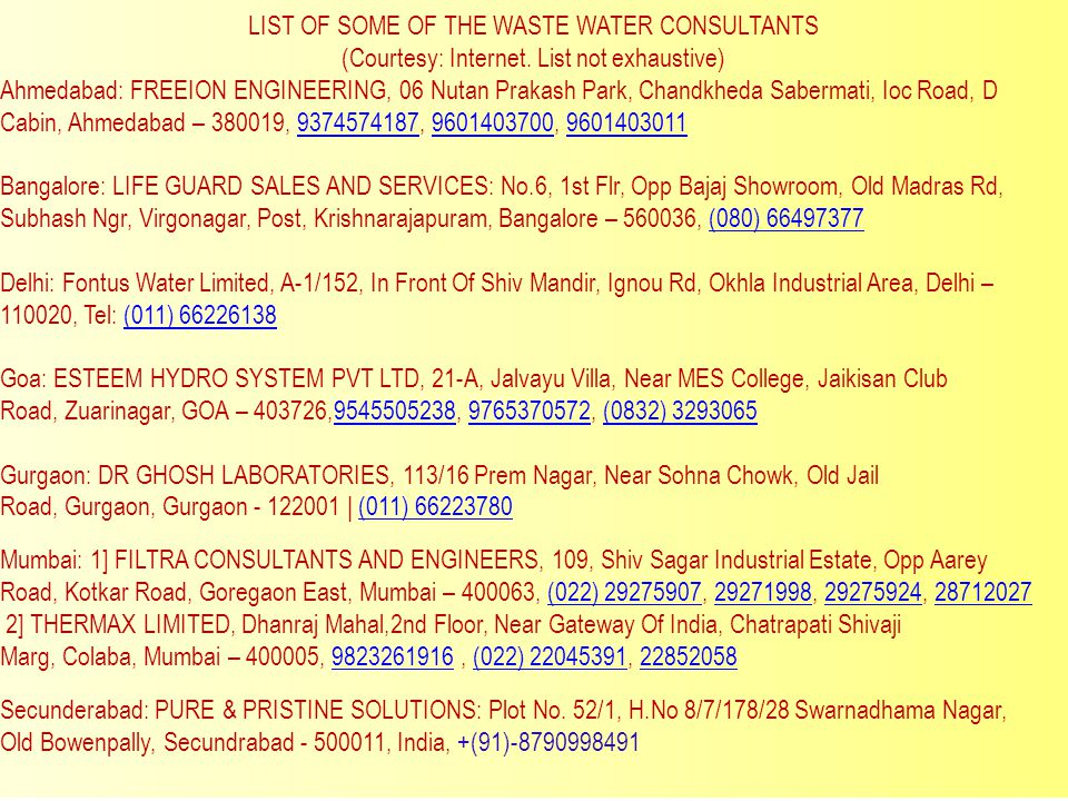 LIST OF SOME OF THE WASTE WATER CONSULTANTS