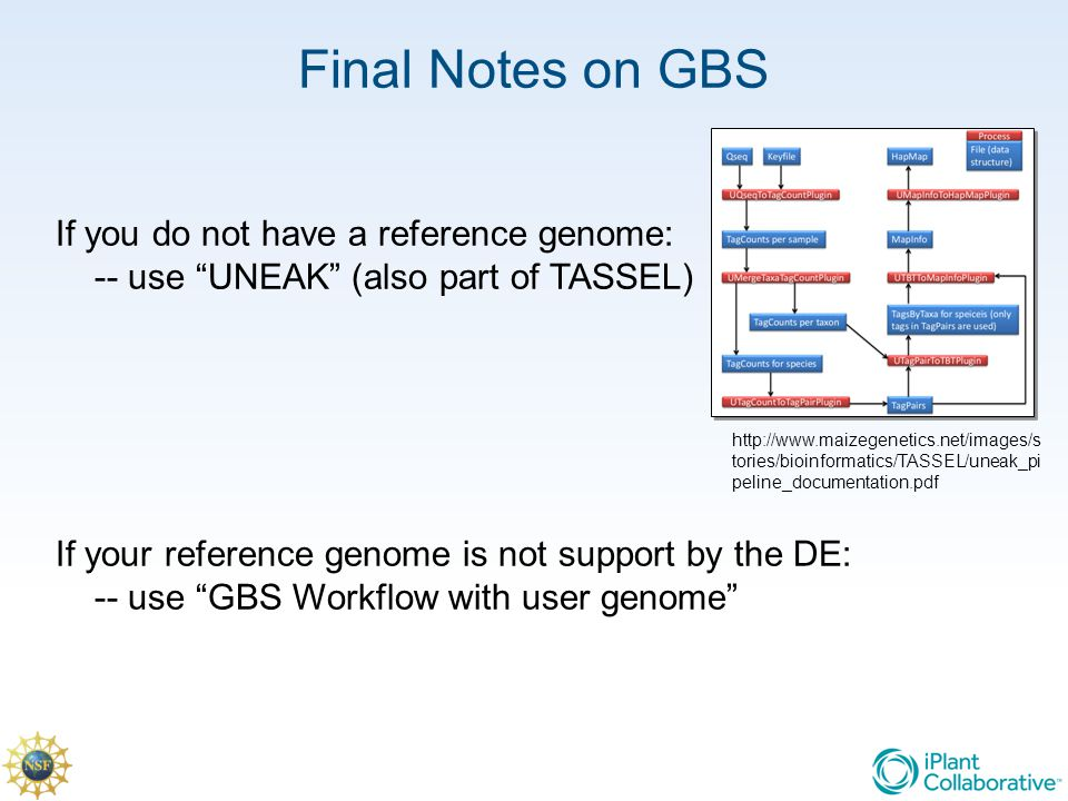 Final Notes on GBS If you do not have a reference genome: