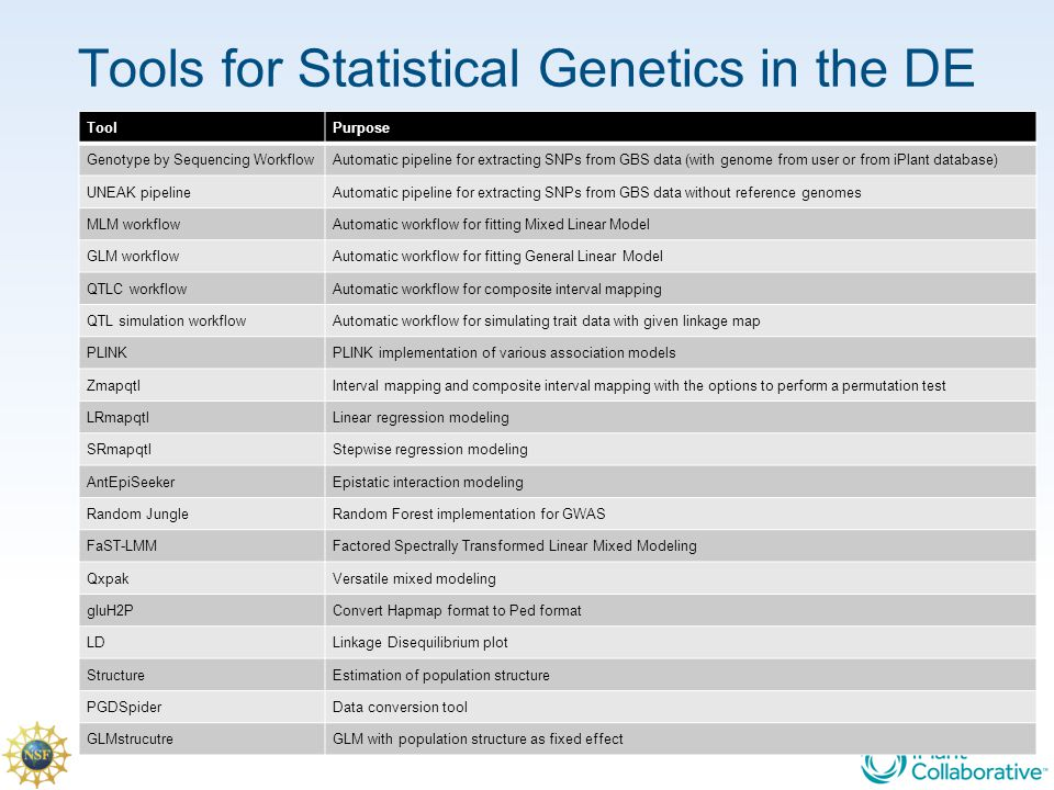 Tools for Statistical Genetics in the DE