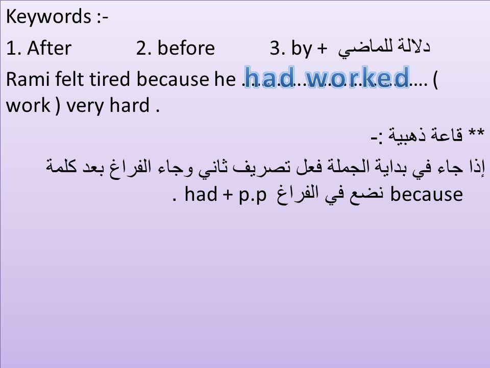 Keywords :- دلالة للماضي 1. After 2. before 3