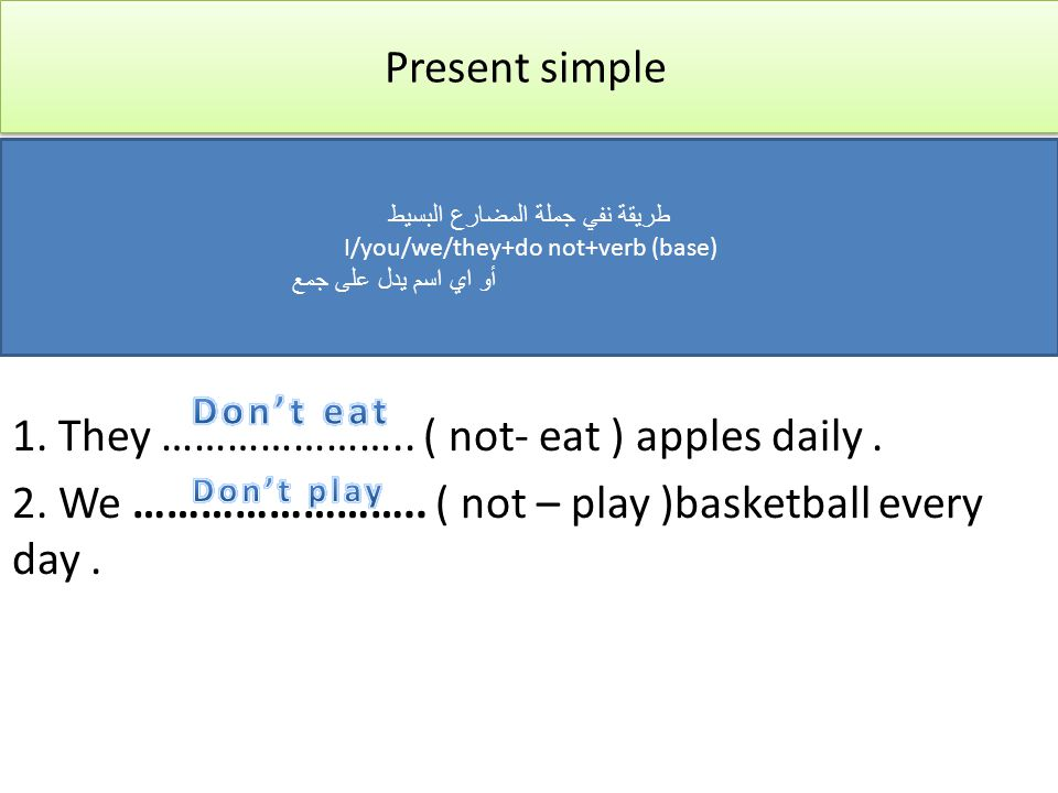 Present simple 1. They ………………….. ( not- eat ) apples daily . 2. We …………………….. ( not – play )basketball every day .