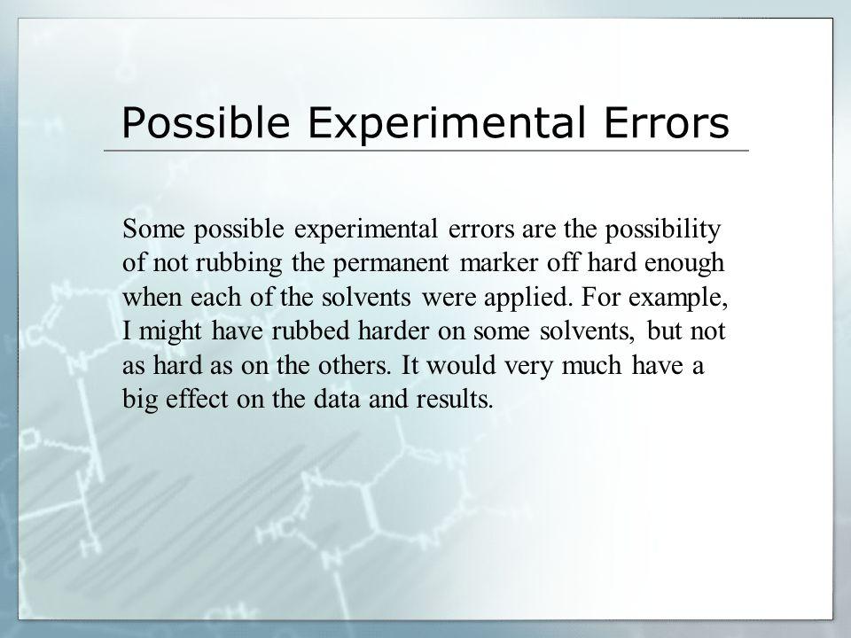 Possible Experimental Errors