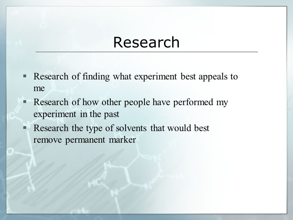 Research Research of finding what experiment best appeals to me