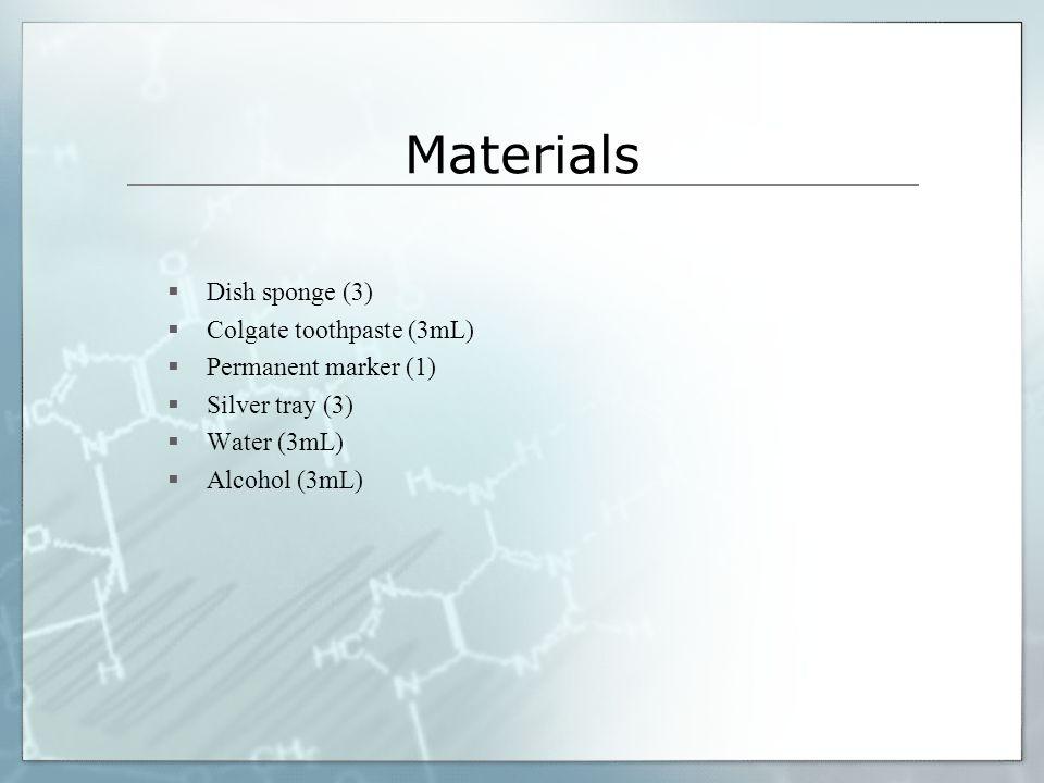 Materials Dish sponge (3) Colgate toothpaste (3mL)
